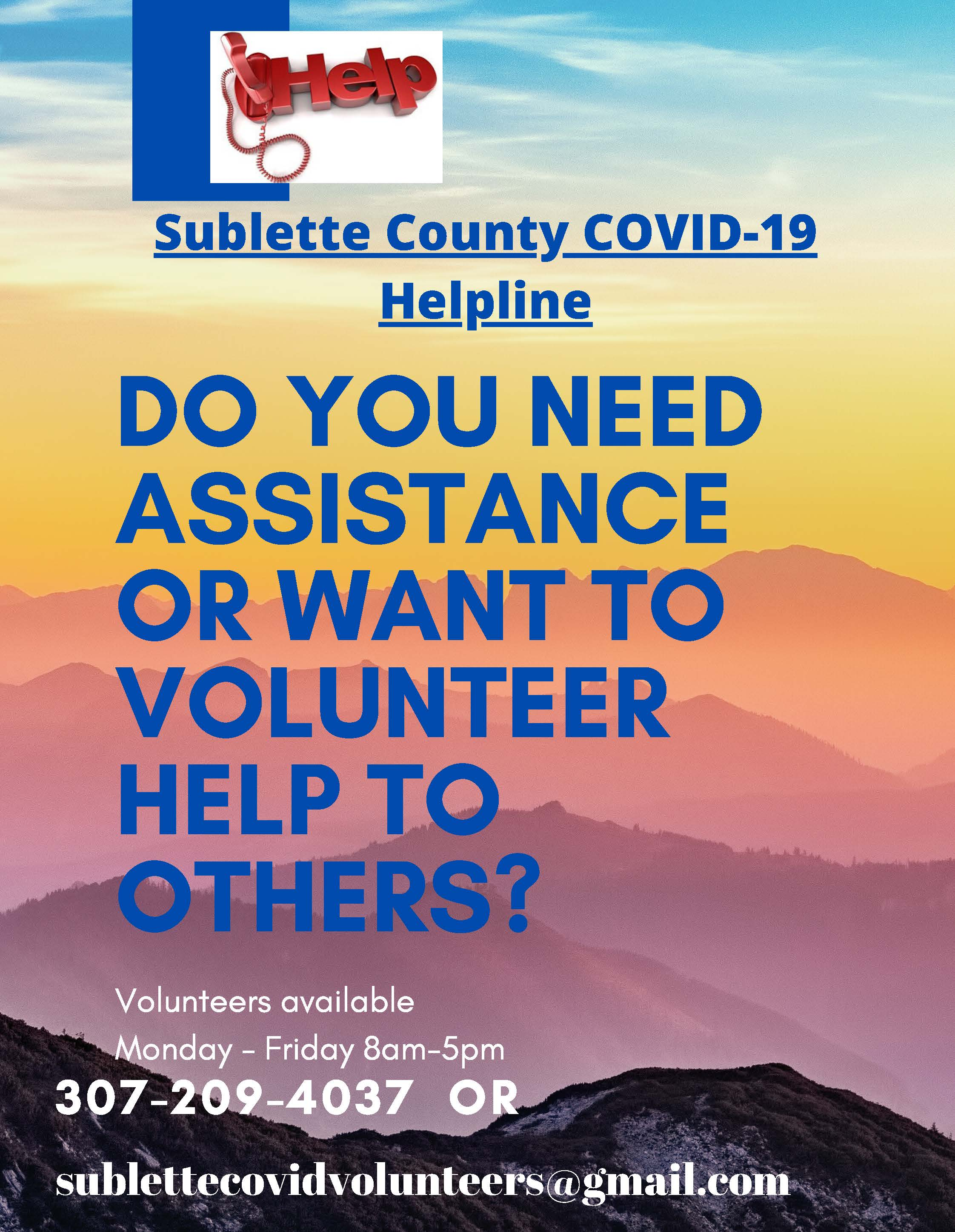 Sublette County COVID-19 Helpline Flyer
