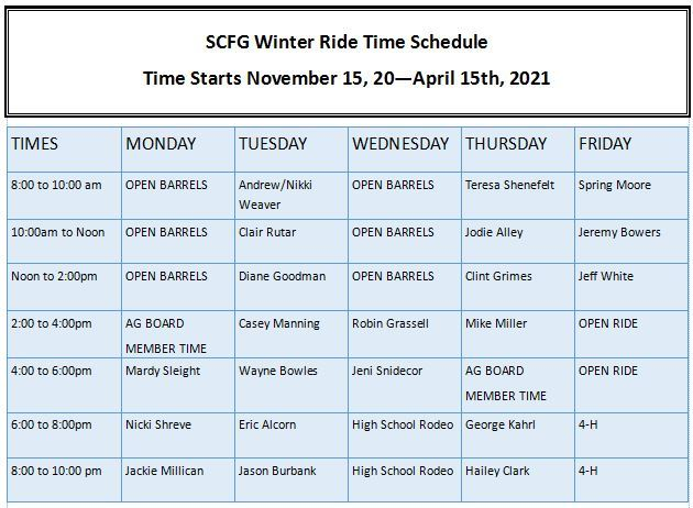 2021 Winter Ride Times